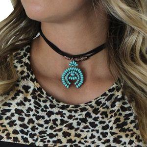 Jewelry - Vegan Leather/Suede Squash Blossom Choker
